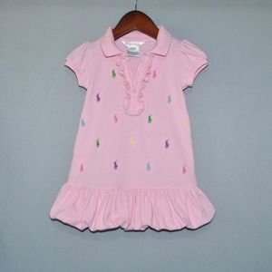 Ralph Lauren Baby Girl's Dress Size 9M Polo Logos